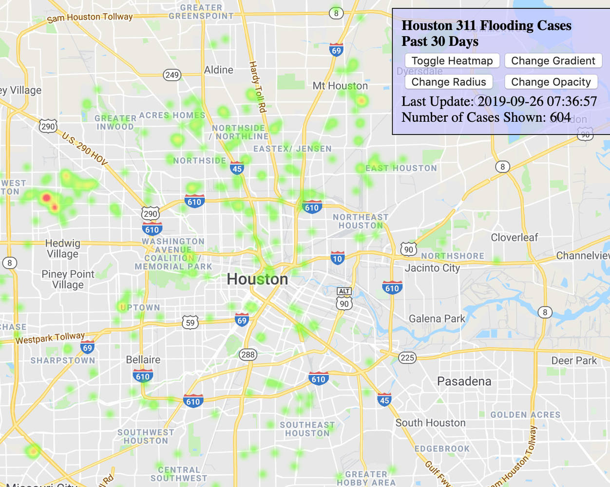 Houston 311 Service Requests Heatmap During Imelda
