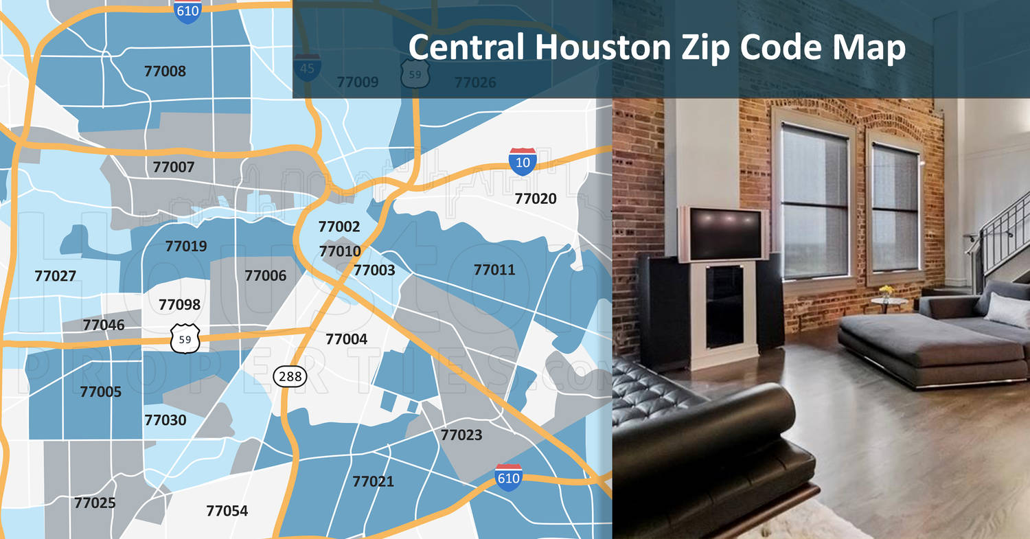 Central Houston Zip Code Map