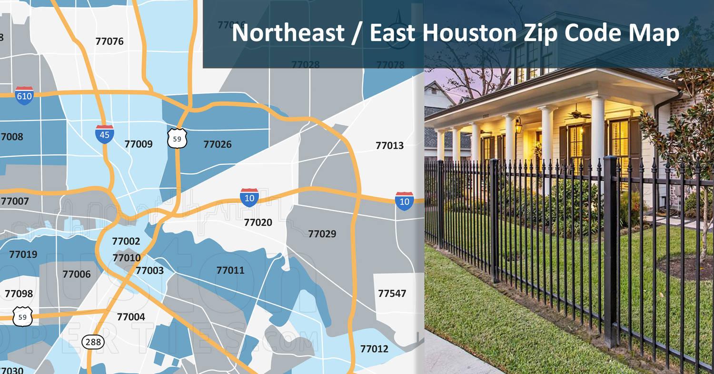 Northeast/East Houston Zip Code Map