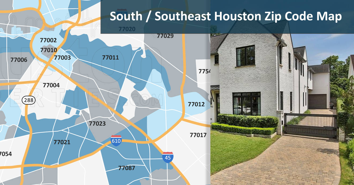 South/Southeast Houston Zip Code Map