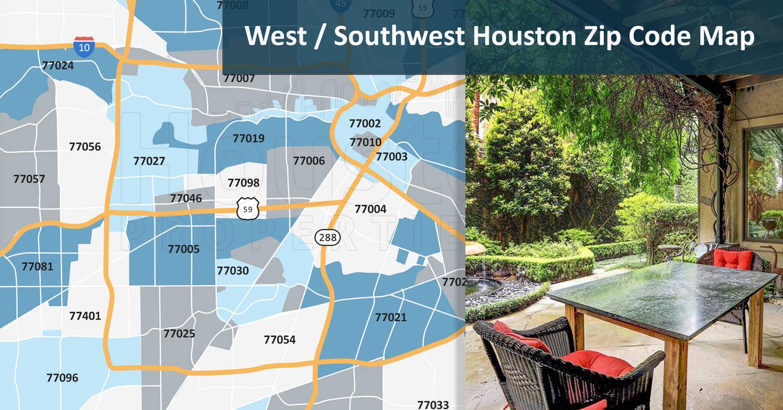 West/Southwest Houston Zip Code Map