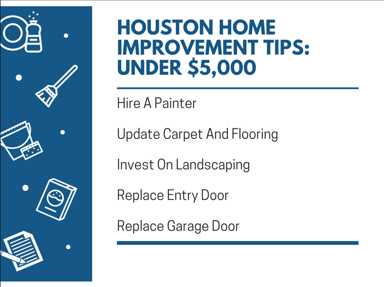 Houston Home Improvement Tips: Under $5,000