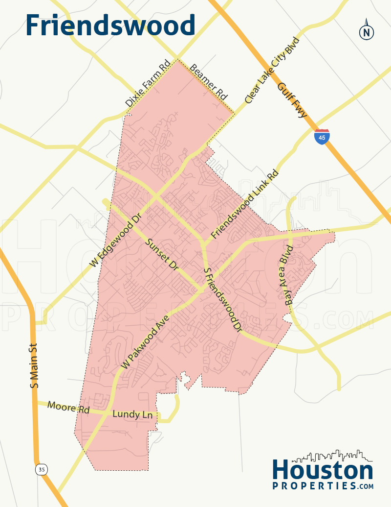 Map of Friendswood