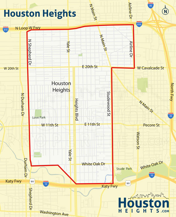 Map of Houston Heights