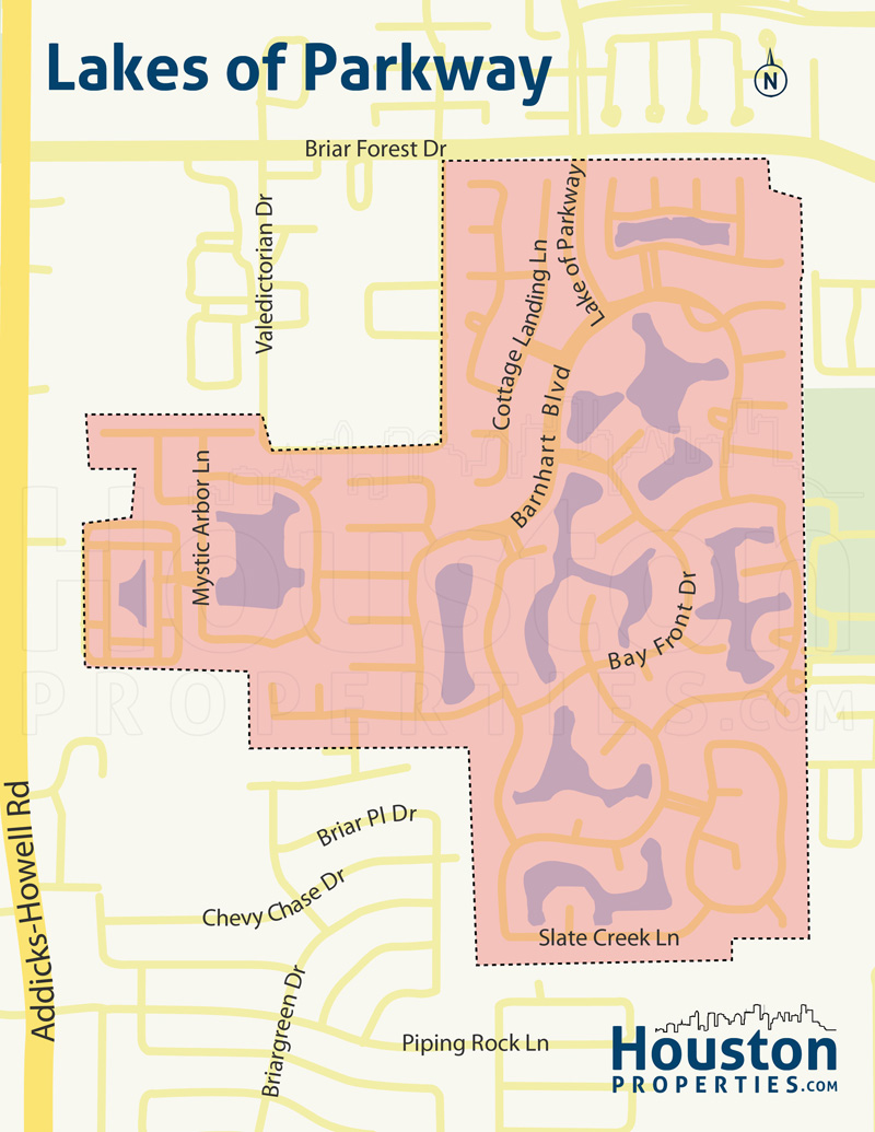 Map of Lakes of Parkway