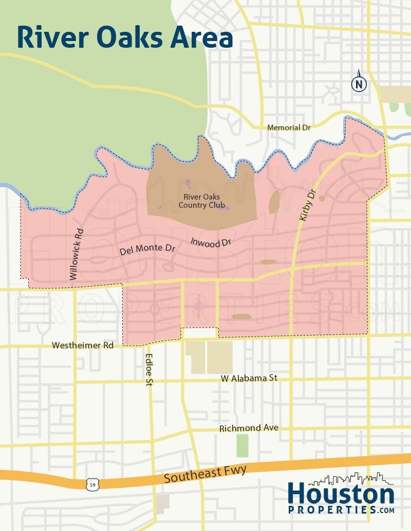 Map of River Oaks Shopping Area